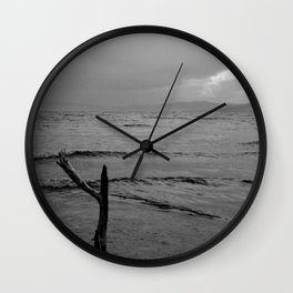 Black and white minimal lakescape Wall Clock
