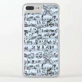 Hand Written Sheet Music // Light Blue Clear iPhone Case