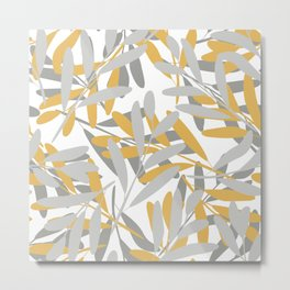 Leaves and Floral Prints, Yellow and Gray, Art For Wall Metal Print
