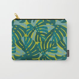Monstera Leaves in Teal Carry-All Pouch