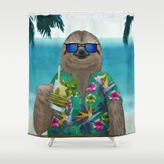 Sloth on summer holidays drinking a mojito Shower Curtain