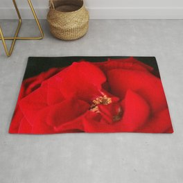 Red Rose Flower Close up Rug