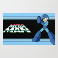 mega man Area & Throw Rugs featuring mega man vintage by OverClocked