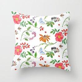 Maine's Wayside Plants Throw Pillow