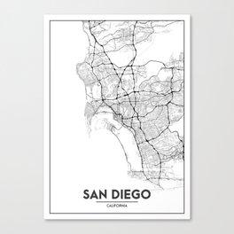 Minimal City Maps - Map Of San Diego, California, United States Canvas Print