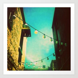 Valley Laneway in Lights  Art Print