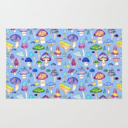 Watercolor Mushroom Pattern on Blue Rug
