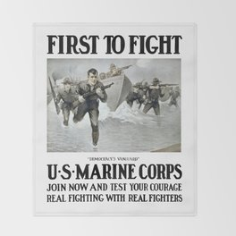 First To Fight -- US Marine Corps Throw Blanket