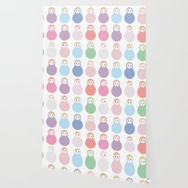 dolls matryoshka on white background, pastel colors Wallpaper
