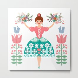 Scandinavian Flower Princess Metal Print