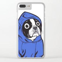 Boston Terrier Blue Hoodie Clear iPhone Case