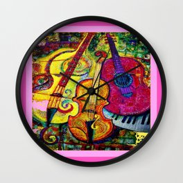 Rose Color Guitar String Instruments Wall Clock