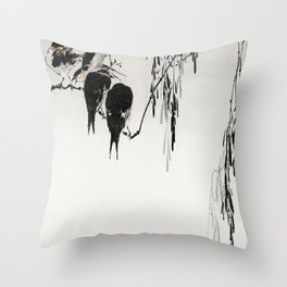 Magpie Birds Traditional Japanese Wildlife Throw Pillow