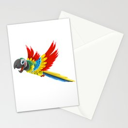 Colourful Chestnut-fronted Macaw - Parrot Cartoon Stationery Cards
