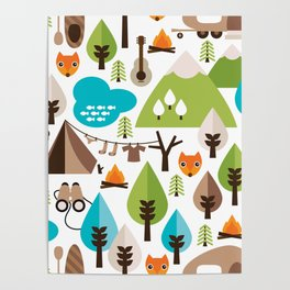 Wild camping trip with fox and wild animals illustration Poster