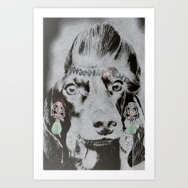 Overly Concerned Dachshund Glamour Art Print