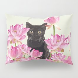 Lotos Flower Blossoms Black Cat Pillow Sham