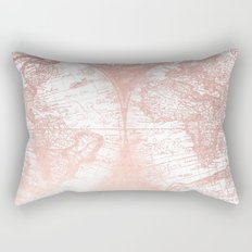 Rose Gold Pink Antique World Map by Nature Magick Rectangular Pillow