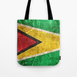 Vintage Aged and Scratched Guyanese Flag Tote Bag