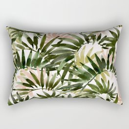 UNFURLING Tropical Palm Print Rectangular Pillow