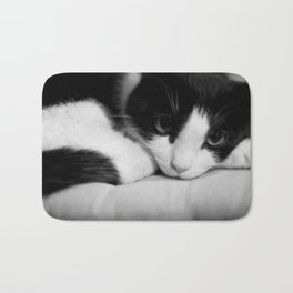 Cat black and white Bath Mat