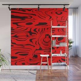 Juicy flowing spots of red lines on black. Wall Mural