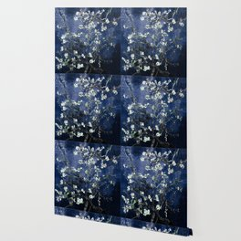 Vincent Van Gogh Almond Blossoms Dark Blue Wallpaper