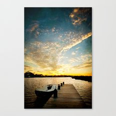 Boat & Pier Sunset Canvas Print
