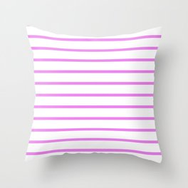 Horizontal Lines (Violet/White) Throw Pillow