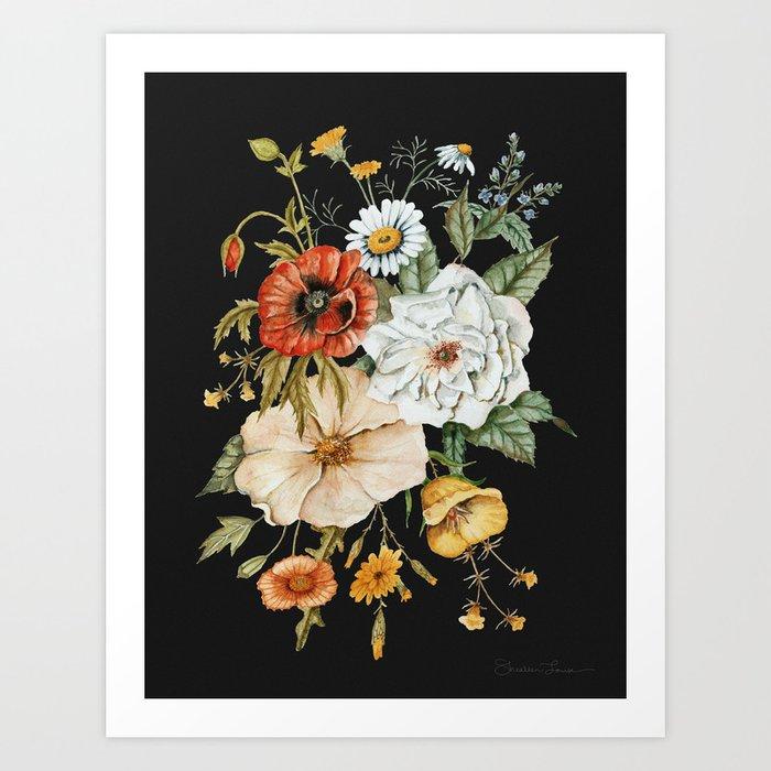 Wildflower Bouquet on Charcoal Kunstdrucke