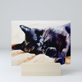 Sleeping Black Cat painting Mini Art Print