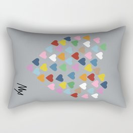 Hearts Heart Multi Grey Rectangular Pillow