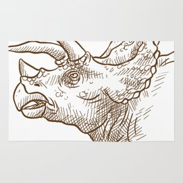 Retro Triceratops Dinosaur Gifts Rug
