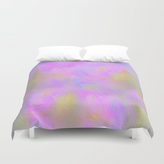 Bright Pastel Feathered Abstract Duvet Cover