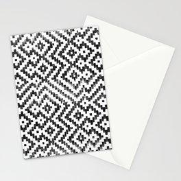 Weave Pattern Bali Black White Monochrome Stationery Cards