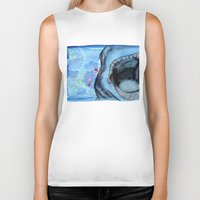 shark Biker Tanks featuring Shark by Leonie O'Moore