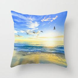 Freedom is an empty beach Throw Pillow