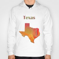 texas Hoodies featuring Texas Map by Roger Wedegis