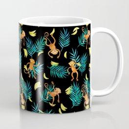 Tropical Monkey Banana Bonanza on Black Coffee Mug