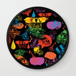 """Little Trucks: Night Time Pattern""  Wall Clock"