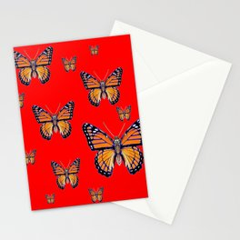 RED ART MONARCH BUTTERFLIES Stationery Cards