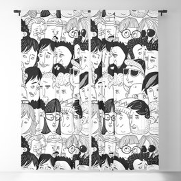 Colorful People Faces Pattern Blackout Curtain