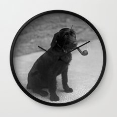 Pipe puffing dog. Wall Clock