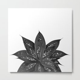 Gray Black Agave with Black Silver Glitter #1 #shiny #tropical #decor #art #society6 Metal Print