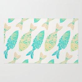 Indonesian Fish Duo – Turquoise & Cream Palette Rug