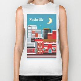 Nashville, Tennessee - Skyline Illustration by Loose Petals Biker Tank