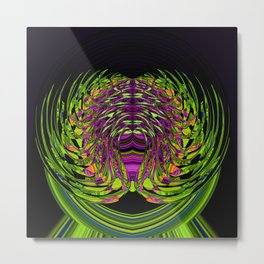 Green Spider In A Bubble - purple background Metal Print