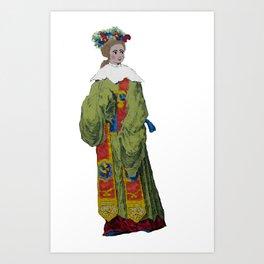 circa 1700 flowers in her hair Art Print
