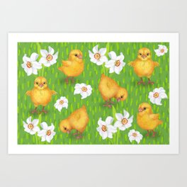 Chickens - spring yellow green Art Print