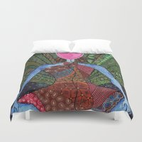 yoga Duvet Covers featuring yoga by mawilda